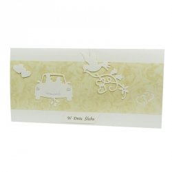 Kartka W Dniu Ślubu, krem, samochód