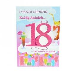 Kartka Z Okazji 18 Urodzin, kolor rózowy, drinki