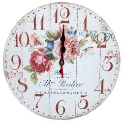 Zegar ścienny drewniany, róże