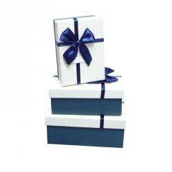 Komplet 3 pudełek prezentowych, kolor niebieski