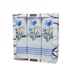 Komplet 3 ścierek kuchennych, niebieskie kwiaty