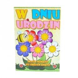 Kartka Z Okazji Urodzin, kolorowe kwiatki