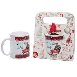 Kubek ceramiczny z zawieszką w świątecznym opakowaniu z napisem Wesołych Świąt