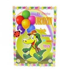 Kartka Z Okazji Urodzin, krokodyl z balonami