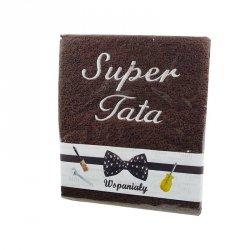 Ręcznik haftowany ' Super Tata' , kolor brązowy