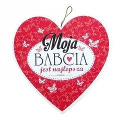 Drewniana tabliczka w kształcie serca Moja Babcia jest Najlepsza