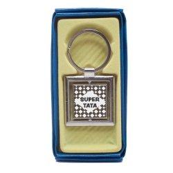 Zawieszka brelok żelowy dwustronny w kształcie kwadratu Super Tata