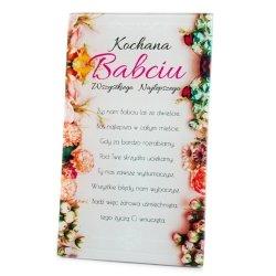 Ramka szklana z napisem Kochana Babciu wszystkiego najlepszego...