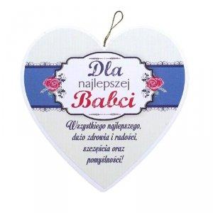 Drewniana tabliczka w kształcie serca Dla Najlepszej Babci