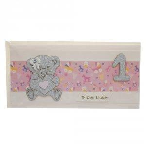 Kartka w dniu 1 urodzin z misiem, kolor różowy
