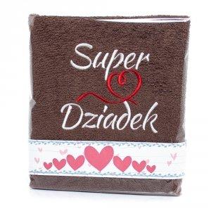 Ręcznik haftowany Super Dziadek, kolor brązowy
