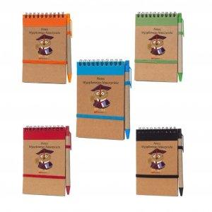 Notes i długopis eco z nadrukiem Notes Wyjątkowego Nauczyciela - mix kolorów