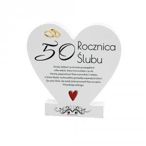 Drewniana tabliczka serce z podstawką  50 Rocznica...