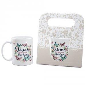 Kubek ceramiczny w ozdobnym opakowaniu z napisem Mamo jesteś moim skarbem