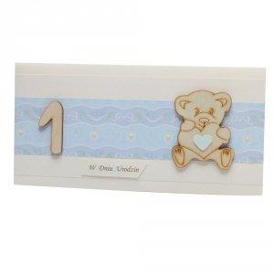 Kartka na 1 urodziny, niebieska, miś sklejka