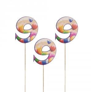 Cyfra ozdobna pik 9 balony 3szt/kpl