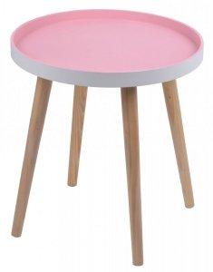 STOLIK DUŻY RÓŻOWY 48x48x48,5 CM.Stolik drewniany z różowym blatem na czterech nogach.Produkt w stylu skandynawskim do montażu.