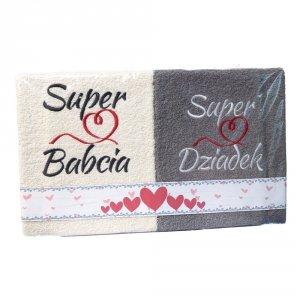 Komplet ręczników Super Babcia, Super Dziadek kolor ecry -szary