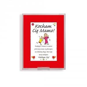 Ramka szklana na podstawce z napisem Kocham Cie Mamo - dzieci