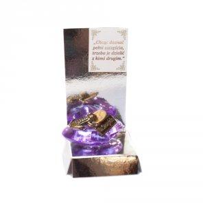 Żaba z groszem na akrylowym sercu z napisem Na Szczęście w ozdobnym opakowaniu