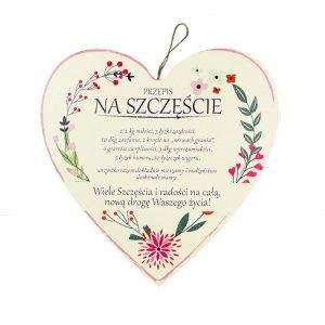 Drewniana tabliczka w kształcie serca Przepis na Szczęście