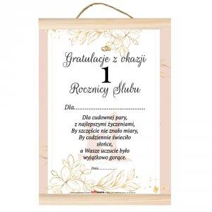 Dyplom gratulacje z okazji 1 rocznicy ślubu.  Dla cudownej pary, z najlepszymi życzeniami, by szczęście nie znało miary...