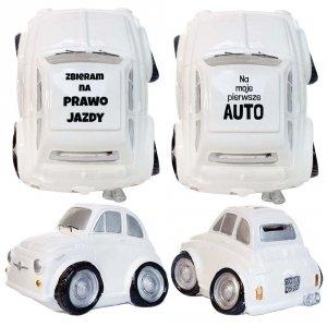Skarbonka samochód -  Zbieram na prawo jazdy i Na moje pierwsze auto - dwa wzory