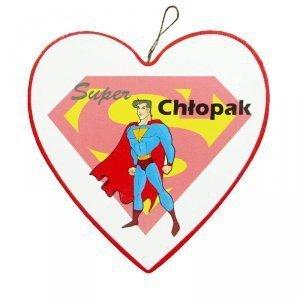 Drewniana tabliczka w kształcie serca SUPER CHŁOPAK