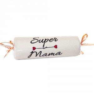 Ręcznik ecru cukierek z haftem Super Mama