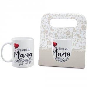 Kubek ceramiczny w ozdobnym opakowaniu z napisem Najlepsza Mama
