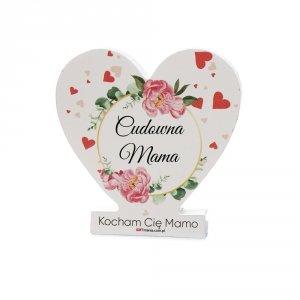 Drewniana tabliczka serce z podstawką wzbogacona lakierem UV z napisem  Cudowna Mama