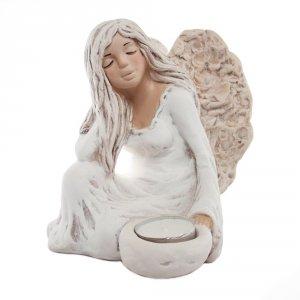 Figura gipsowa 'Anielka koronkowa'. Kolor biały. Rozmiar: 15x11x16 cm.