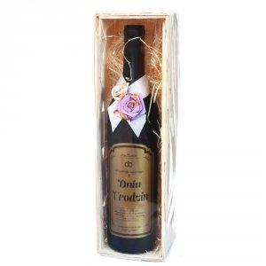 Akcesoria winiarskie w kształcie butelki z napisem Z OKAZJI URODZIN