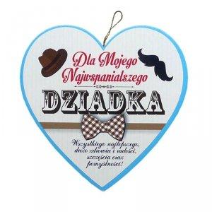 Drewniana tabliczka w kształcie serca Dla Mojego Najwspanialszego Dziadka