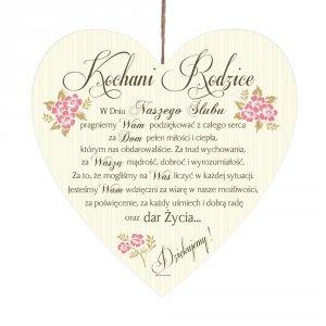 Drewniana tabliczka UV z napisem  Kochani Rodzice... w dniu naszego ślub'.
