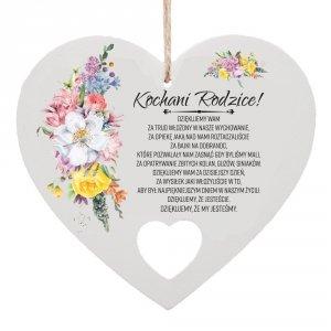 Drewniana tabliczka w kształcie serca Kochani Rodzice...