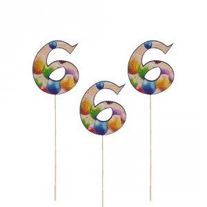 Cyfra ozdobna pik 6 balony 3szt/kpl