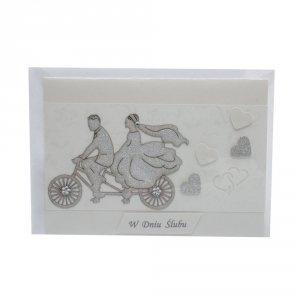 Kartka W Dniu Ślubu, para na rowerze