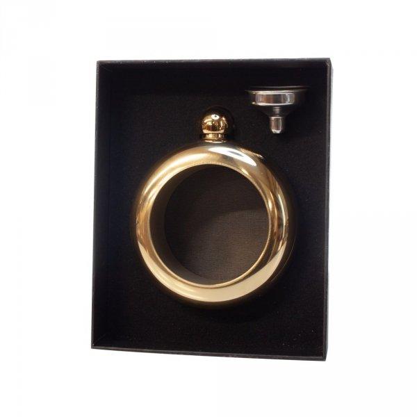 Piersiówka damska w kształcie złotego pierścionka , 7 oz ( 200 ml)