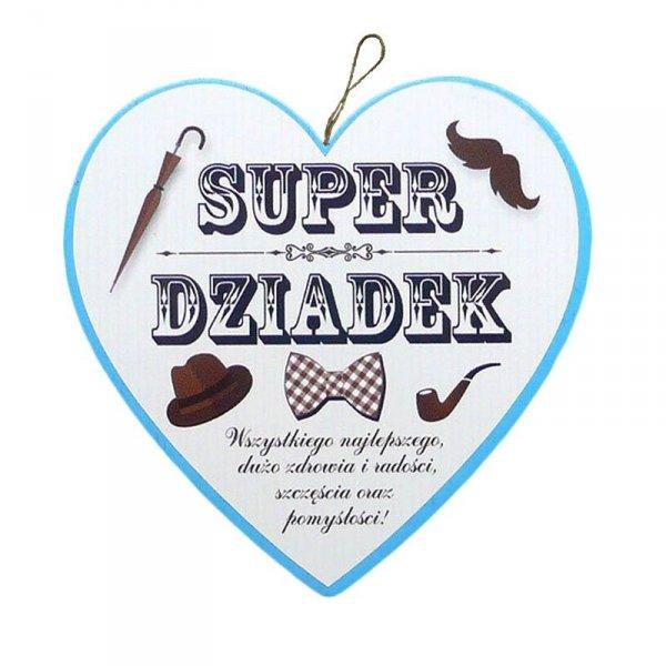 Drewniana tabliczka w kształcie serca Super Dziadek