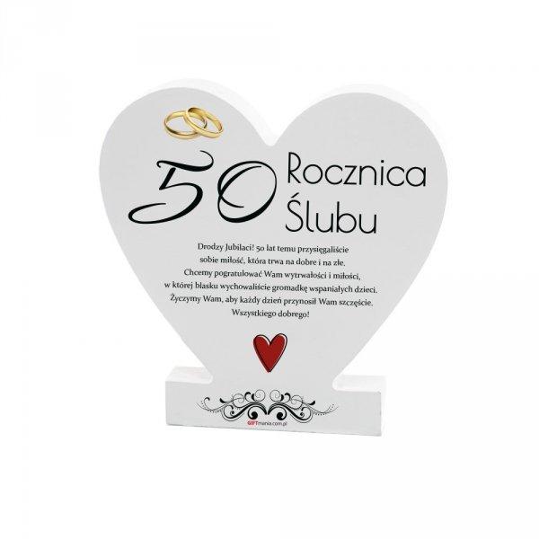 """Drewniana tabliczka serce z podstawką """" 50 Rocznica..."""""""