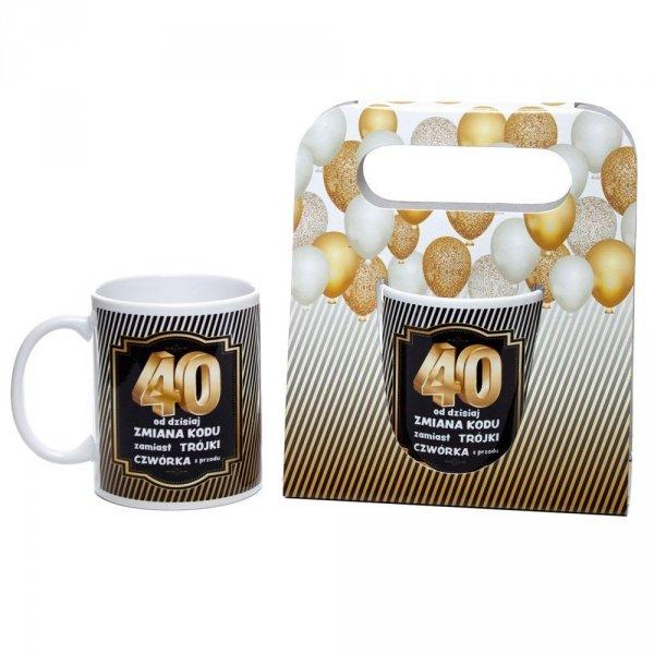 Kubek ceramiczny urodzinowy w ozdobnym opakowaniu 40
