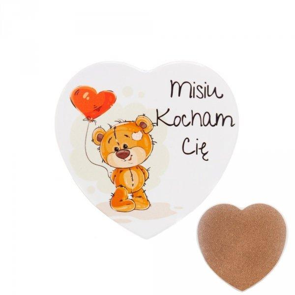 """Ceramiczna podkładka pod kubek z napisem """" Misiu kocham cię"""""""