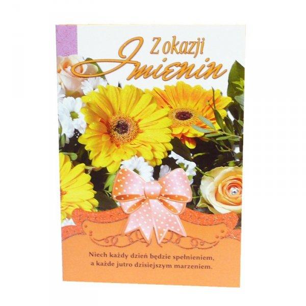 Kartka Z Okazji Imienin, bukiet kwiatów, słonecznik i wstążka