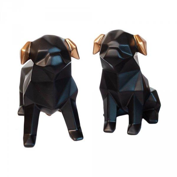 Komplet dwóch figurek - buldog w kolorze bałym i czarnym
