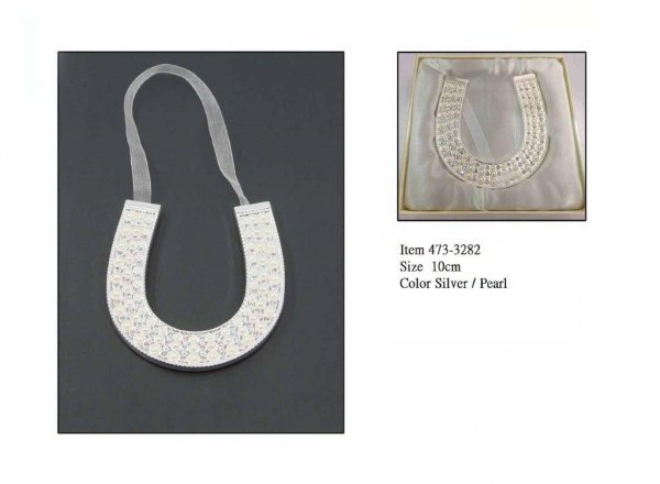 Podkowa srebrna z perełkami