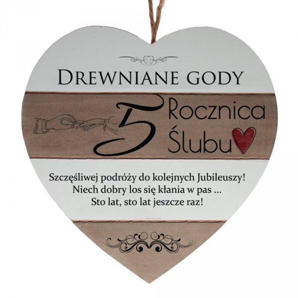 """Drewniana tabliczka w kształcie serca z napisem """" 5 rocznica ślubu..."""""""