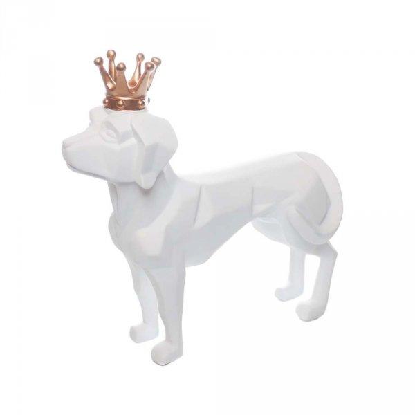 Figurka psa z koroną w kolorze białym i czarnym