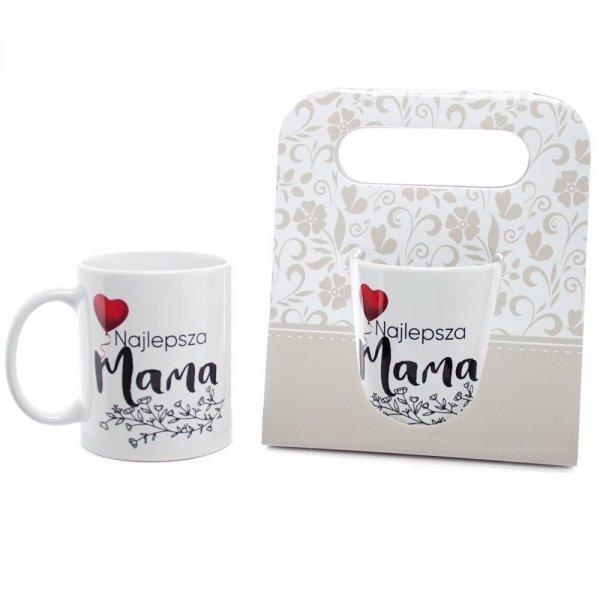 """Kubek ceramiczny w ozdobnym opakowaniu z napisem """"Najlepsza Mama"""""""