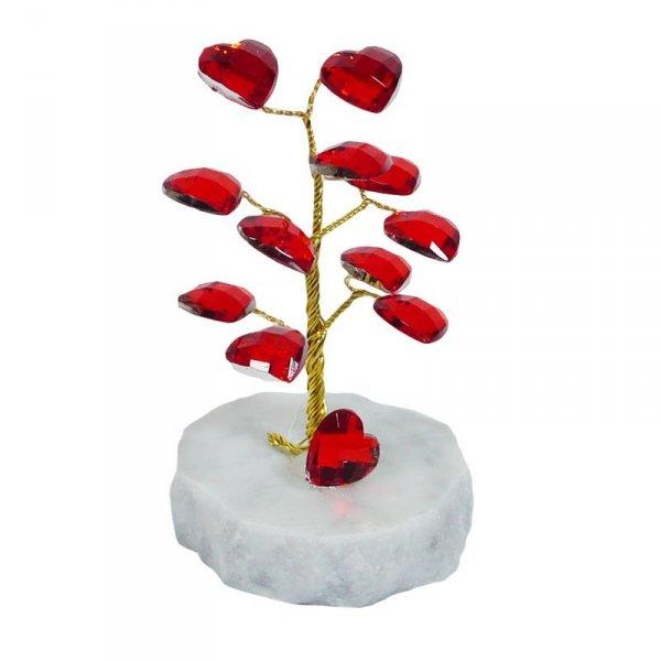 Drzewko szczęścia 'Z sercami'. Podstawa z marmuru. Wysokość: 10 cm.
